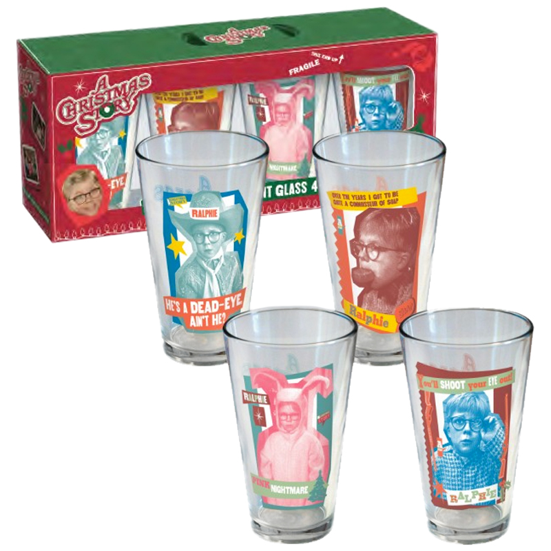 a christmas story ralphie pint glasses set of 4 - What Year Is Christmas Story Set