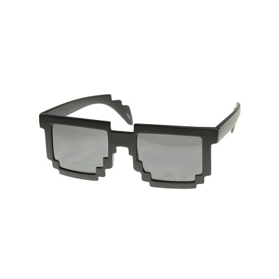 8 Bit Glasses, Black, Silver Lenses