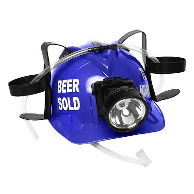 """Beer Sold To Miners"" Lighted Drinking Helmet, Blue"