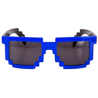 8-Bit Pixel Glasses: Blue