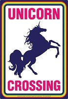 Unicorn Crossing Tin Sign