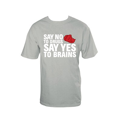 No Drugs, Yes Brains T-Shirt, Gray