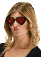 Pixel Heart Glasses Black, Red Lenses