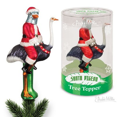 Santa Pigeon Tree Topper