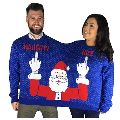 Two Person Ugly Christmas Sweater: Naughty & Nice Santa