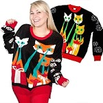 Ugly Christmas Sweater: Laser Cat-Zillas